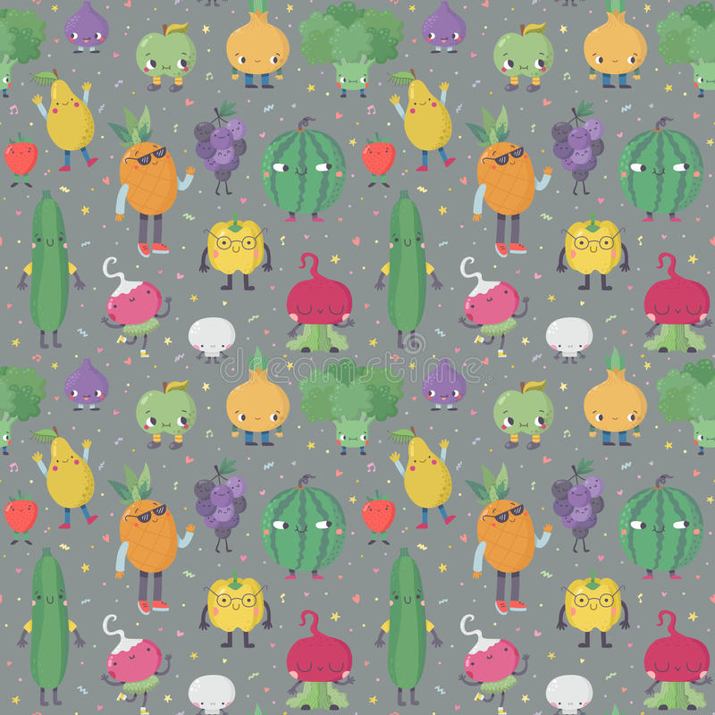 Leuk van beeldverhaal levend vruchten en groenten vectorpatroon Deel Twee stock illustratie