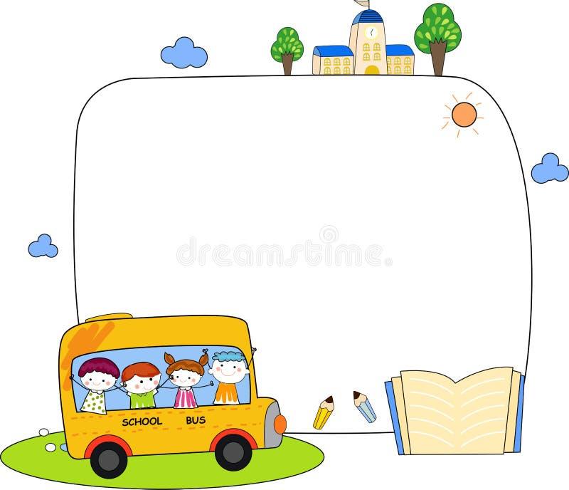 Leuk van de beeldverhaaljonge geitjes en school buskader royalty-vrije illustratie