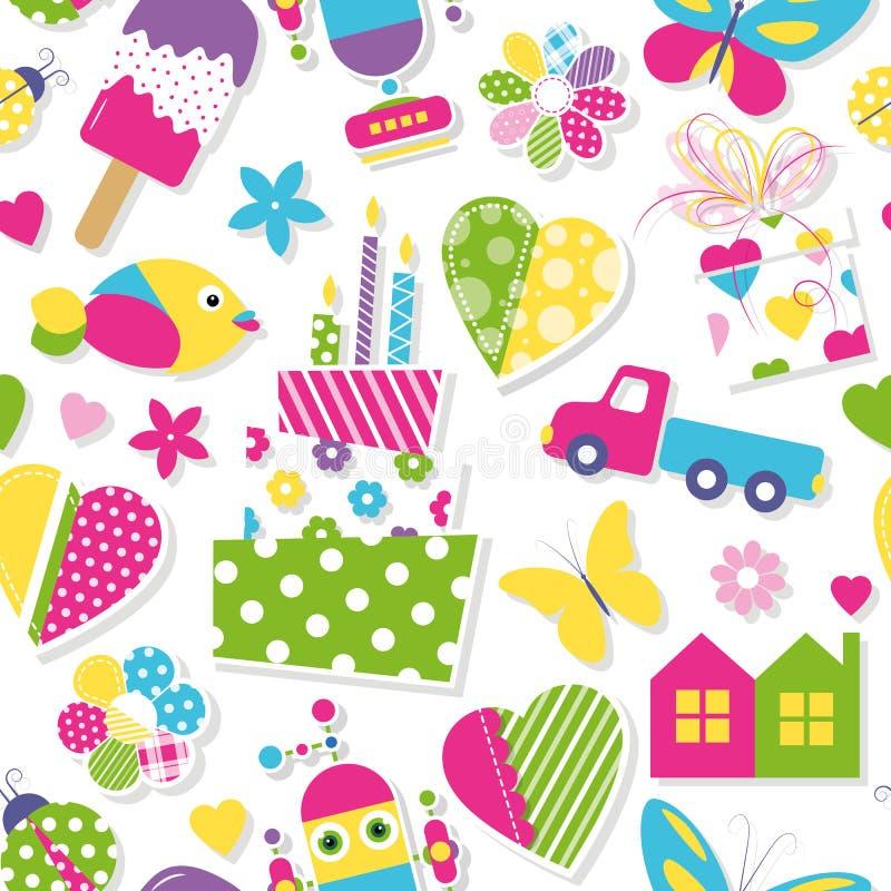 Leuk van van het van van verjaardagscake, harten, bloemen, speelgoed en dieren patroon royalty-vrije illustratie
