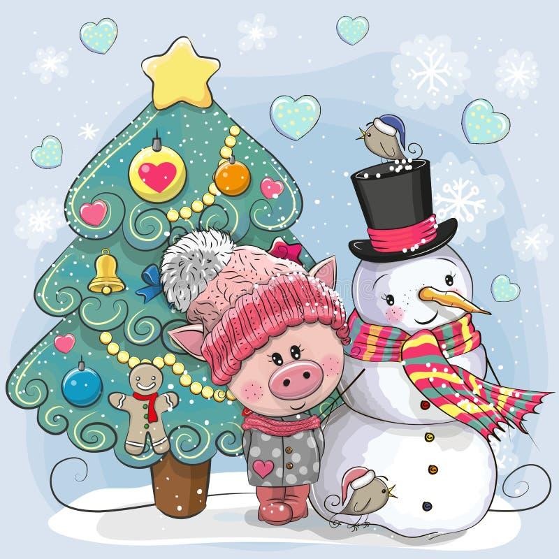 Leuk Varken in een gebreid GLB en sneeuwman vector illustratie