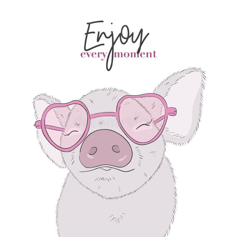 Leuk varken met Enjoy elk ogenblikcitaat De gelukkige tekening van het het levens grappige biggetje De dierlijke illustratie van  royalty-vrije illustratie
