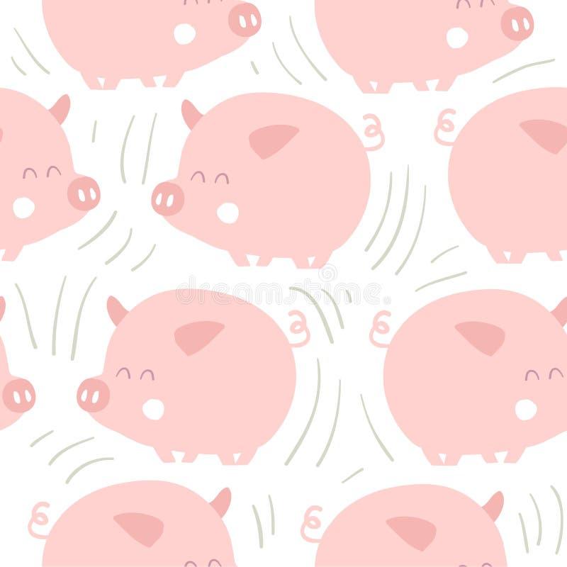 Leuk varkens naadloos patroon royalty-vrije illustratie