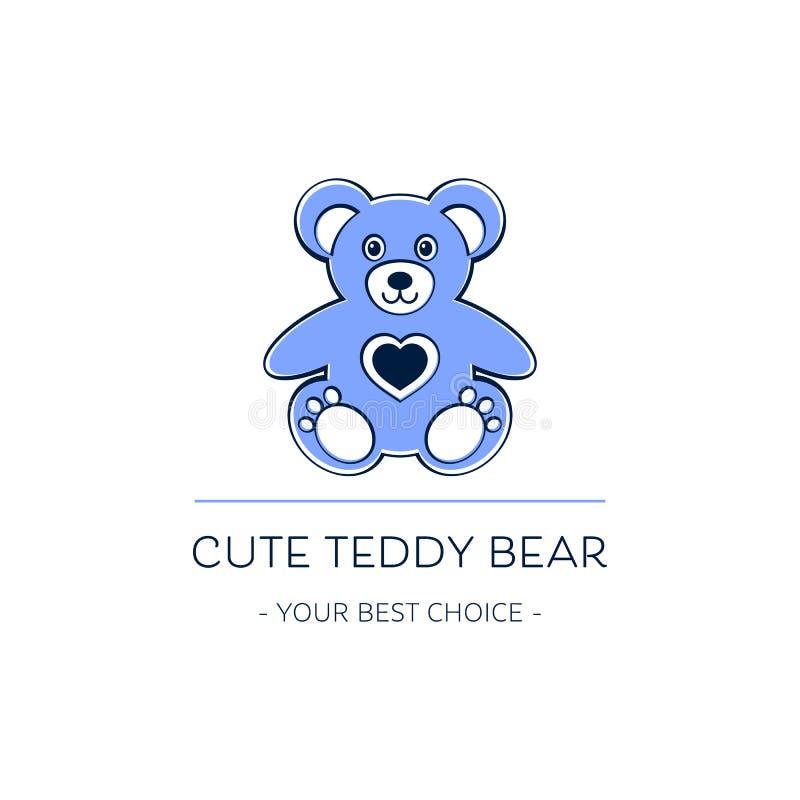 Leuk vector het malplaatjeontwerp van het teddybeerembleem stock illustratie