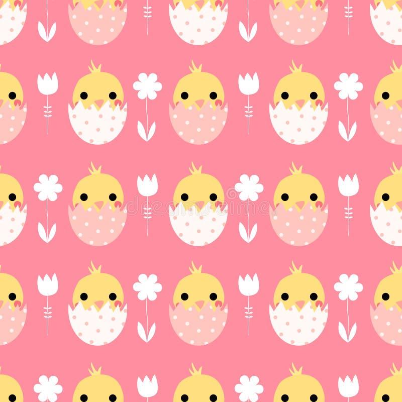 Leuk vector naadloos patroon met Pasen-kuikens stock illustratie