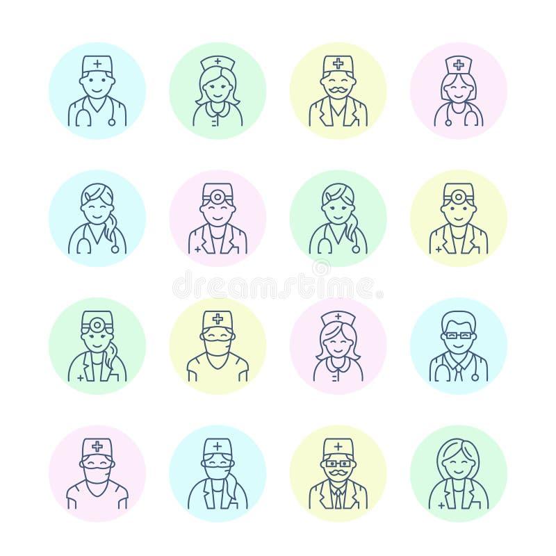 Leuk vectorlijnpictogram van arts Het ziekenhuis, kliniek lineair embleem Overzicht artsenteken - chirurg, cardioloog, tandarts royalty-vrije illustratie