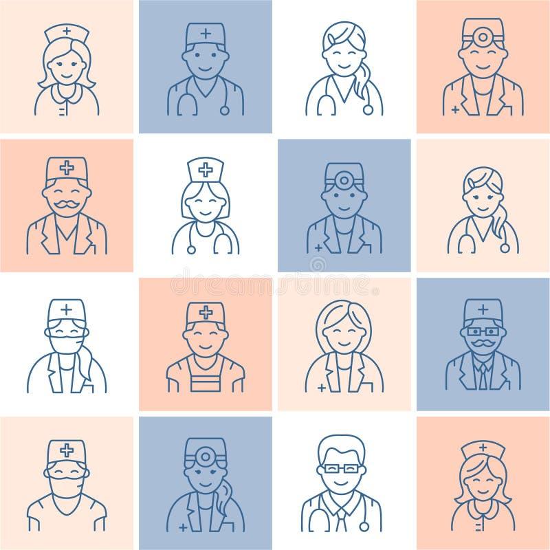 Leuk vectorlijnpictogram van arts Het ziekenhuis, kliniek lineair embleem Overzicht artsenteken - chirurgencardioloog, tandarts stock illustratie