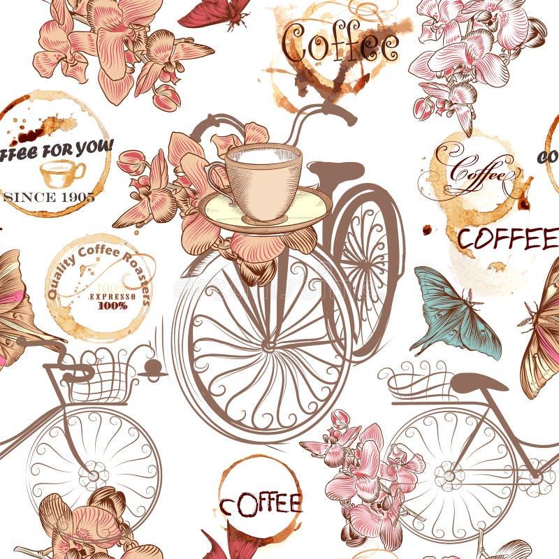 Leuk vectorpatroon met valse fietsen en bloemen vector illustratie