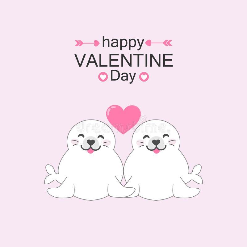 Leuk verbindingenpaar met hart Van de de dagkaart van Valentine de vectorillustratie royalty-vrije illustratie