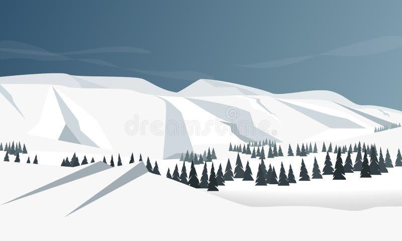 Leuk vlak de winterlandschap met berg, bos en wolkenillustratie Ideaal voor Web, de dekkingsuitnodiging van de kaartaffiche, broc stock illustratie