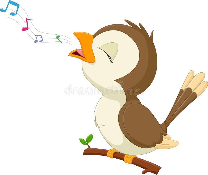 Leuk vogelbeeldverhaal singinig royalty-vrije illustratie