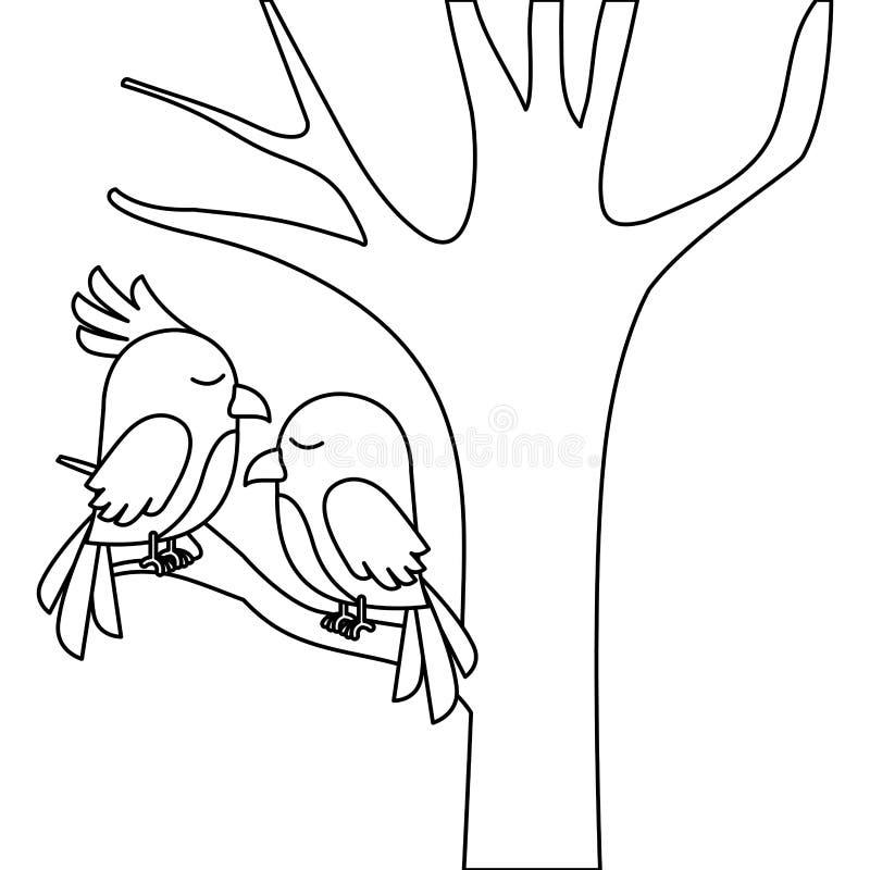 Leuk vogelspaar in boom stock illustratie