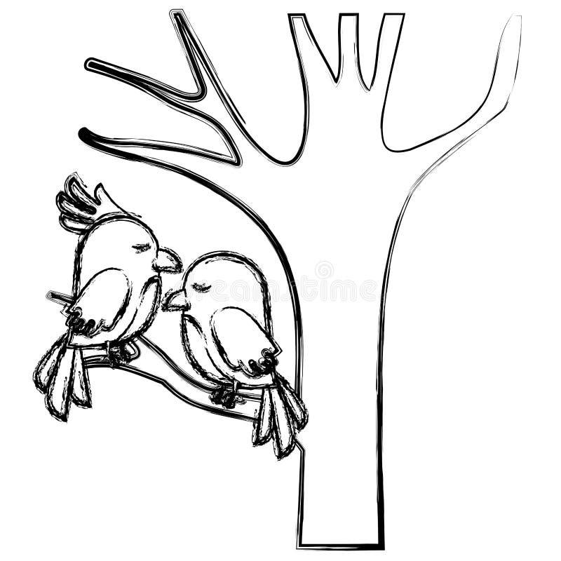 Leuk vogelspaar in boom royalty-vrije illustratie