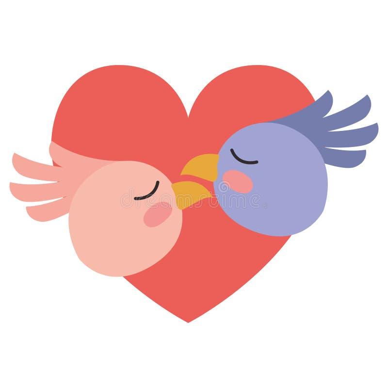 Leuk vogelspaar in hart vector illustratie