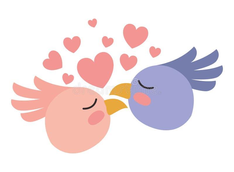 Leuk vogelspaar met harten vector illustratie