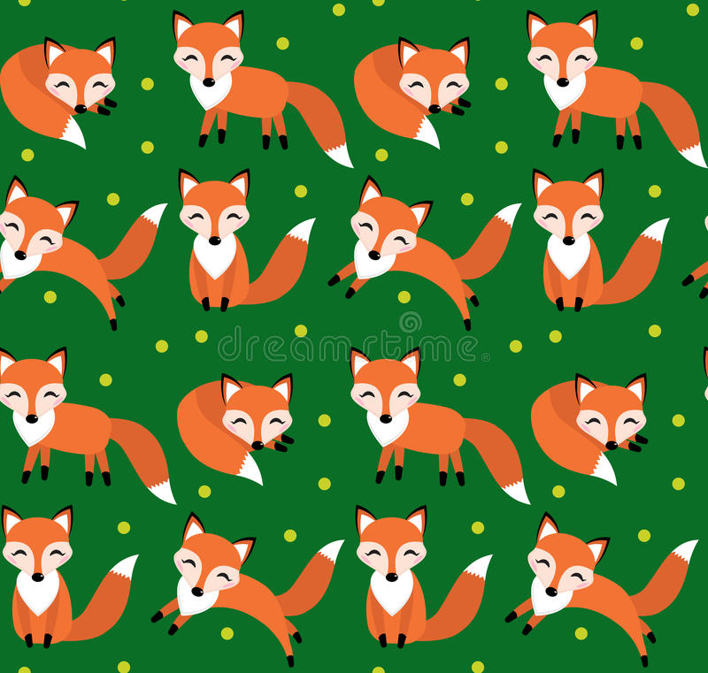 Leuk vos naadloos patroon Foxy eindeloze achtergrond, textuur stock illustratie