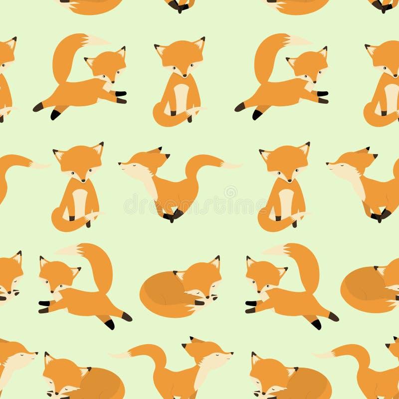 Leuk vos naadloos patroon Foxy eindeloze achtergrond, textuur Kinderen` s achtergrond Vector illustratie stock illustratie