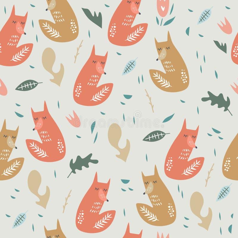 Leuk vossen naadloos patroon Oranje vossen op bloemenachtergrond Goed voor druk, verpakkend document, textiel, stoffen, behang, d stock illustratie