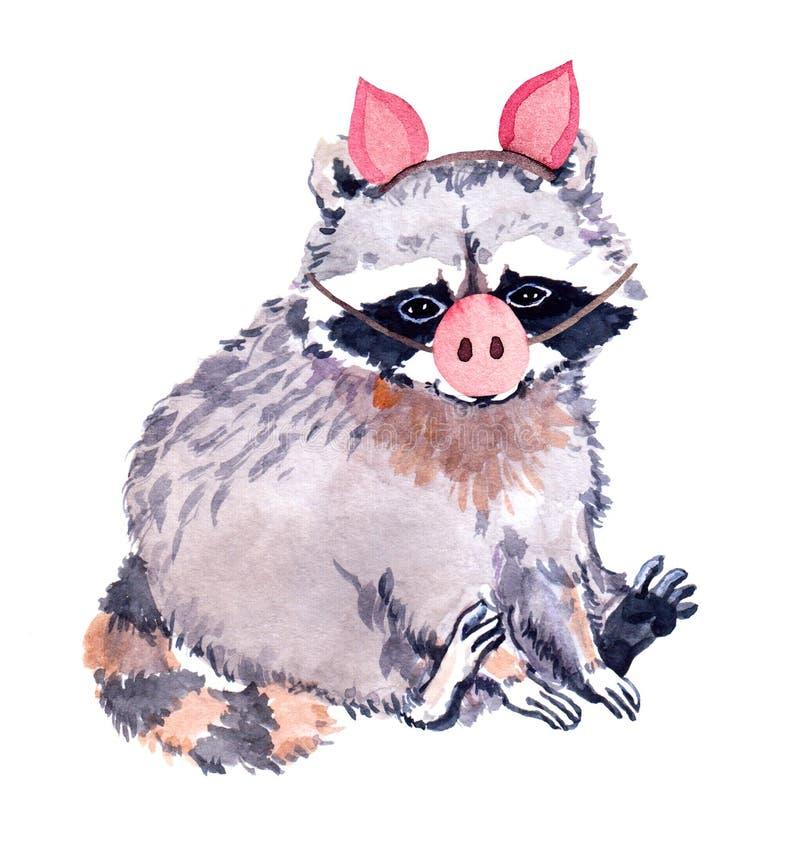 Leuk wasbeerdier in piggy kostuum met varkensneus Het grappige Nieuwe jaar van illustratiefo watercolor stock illustratie