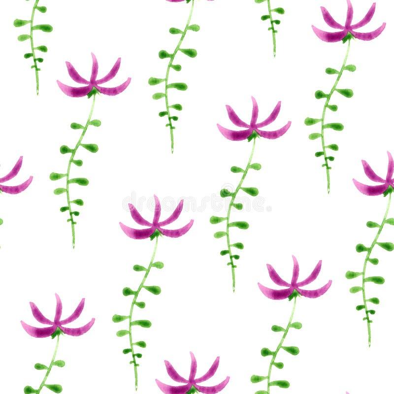 Leuk waterverf bloemen naadloos patroon kleurrijk vector illustratie