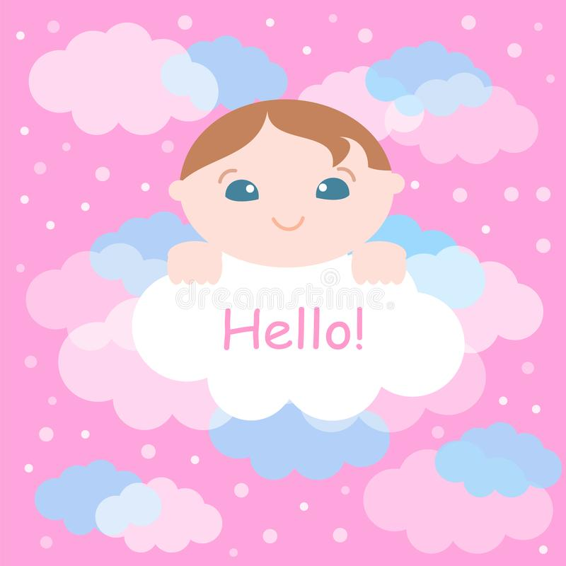 Leuk weinig baby en wolkenachtergrond Vector illustratie stock illustratie
