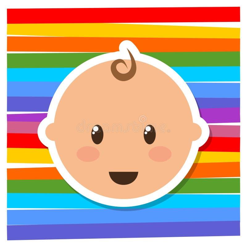 Leuk weinig baby hoofdembleem, pictogram, teken vector illustratie