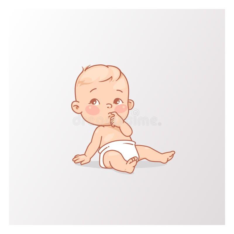 Leuk weinig babyjongen of meisje in luierzitting stock illustratie