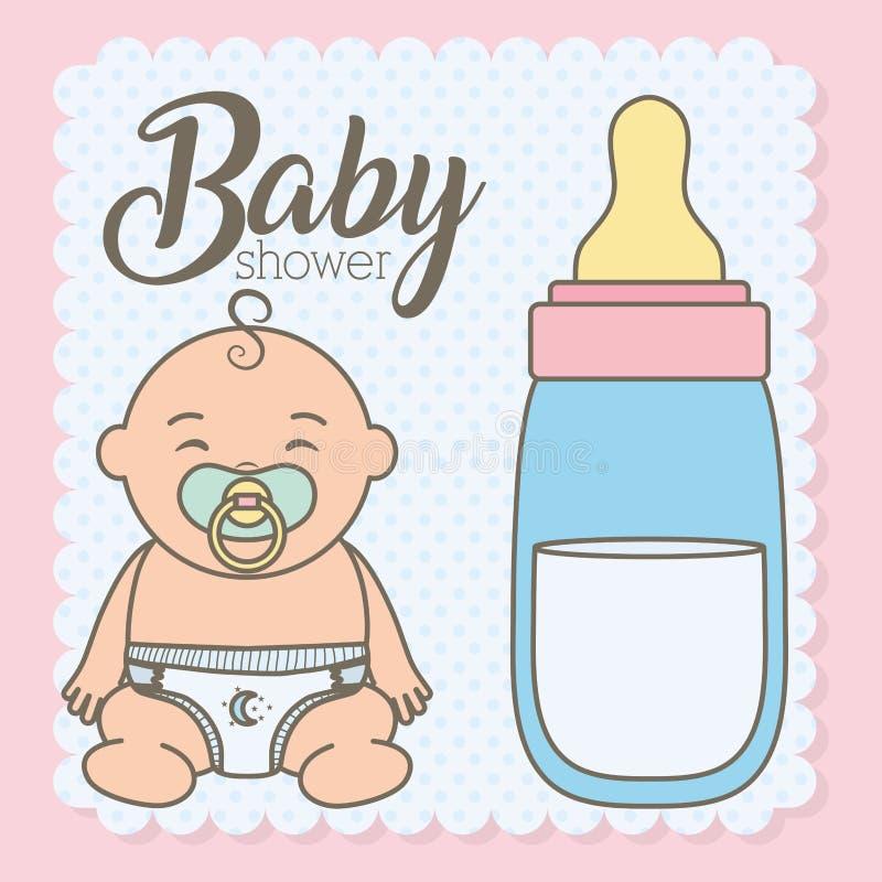 Leuk weinig babyjongen met flessenmelk royalty-vrije illustratie