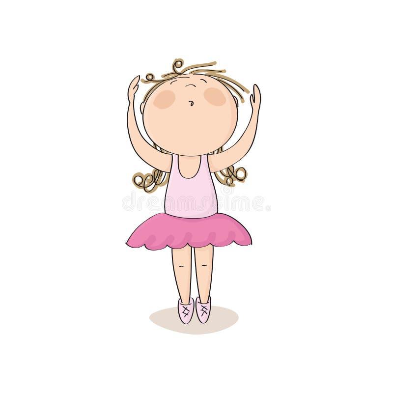 Leuk weinig ballerinameisje die op haar tenen met handen omhoog in de lucht dansen - originele hand getrokken illustratie royalty-vrije illustratie