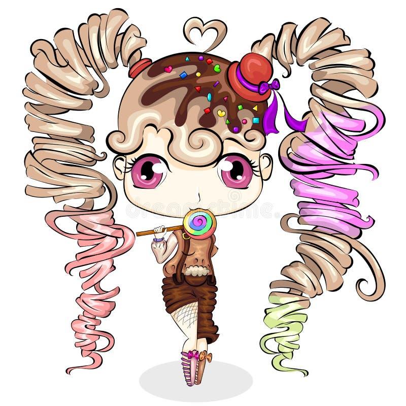 Leuk weinig beeldverhaalmeisje met zoet suikergoed Karakterontwerp vector illustratie