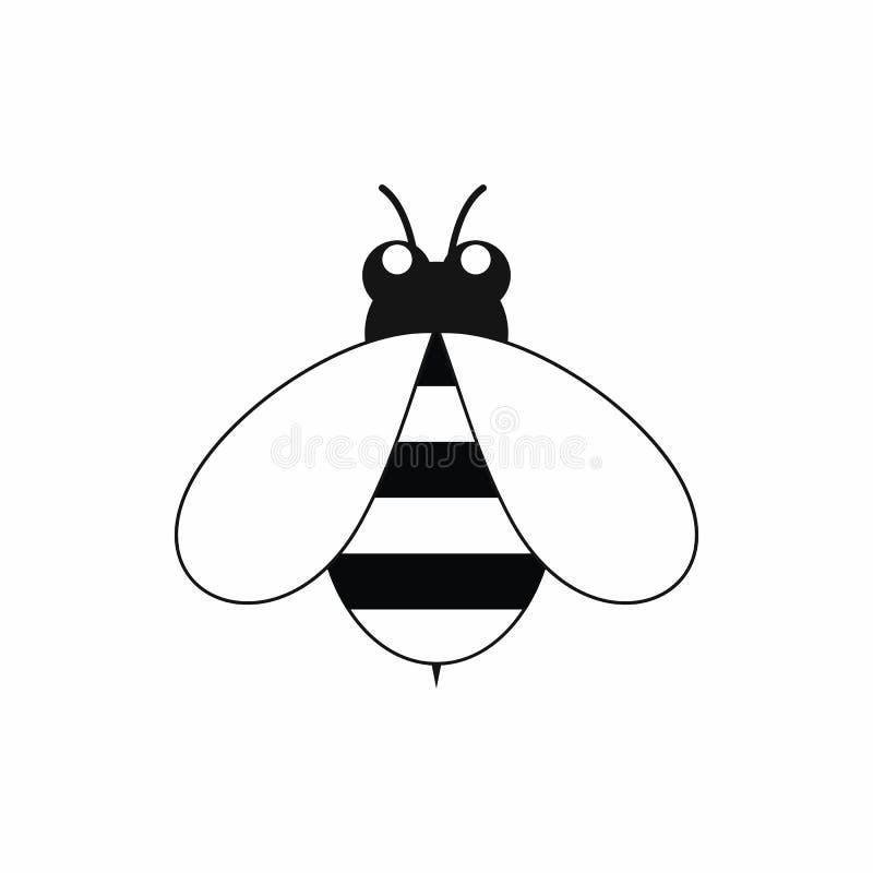 Leuk weinig bijenpictogram, zwarte eenvoudige stijl royalty-vrije illustratie