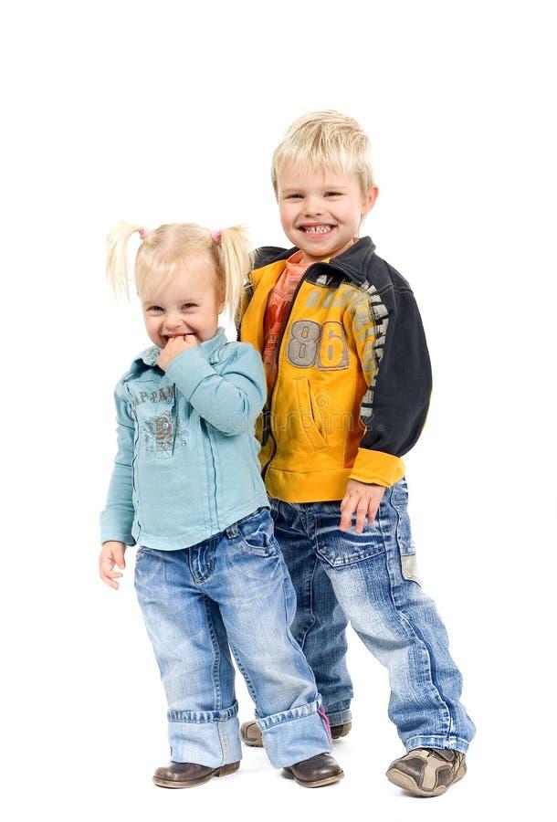 Leuk Weinig Blond Jongen en Meisje stock foto