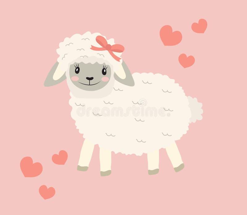 Leuk weinig de illustratie van de schapenbaby grappig het glimlachen dier Vector illustratie royalty-vrije illustratie