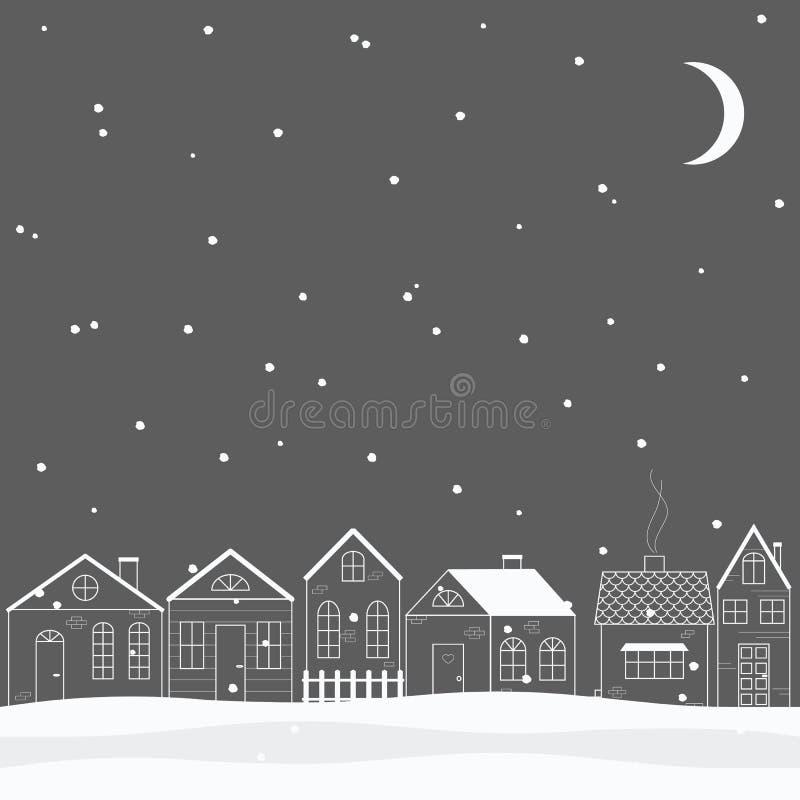 Leuk weinig de winterstad stock foto