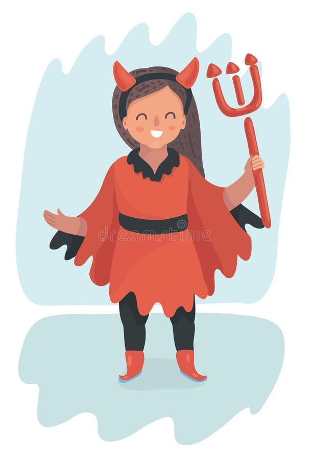 Leuk weinig Duivelsmeisje in rood kostuum op wit stock illustratie