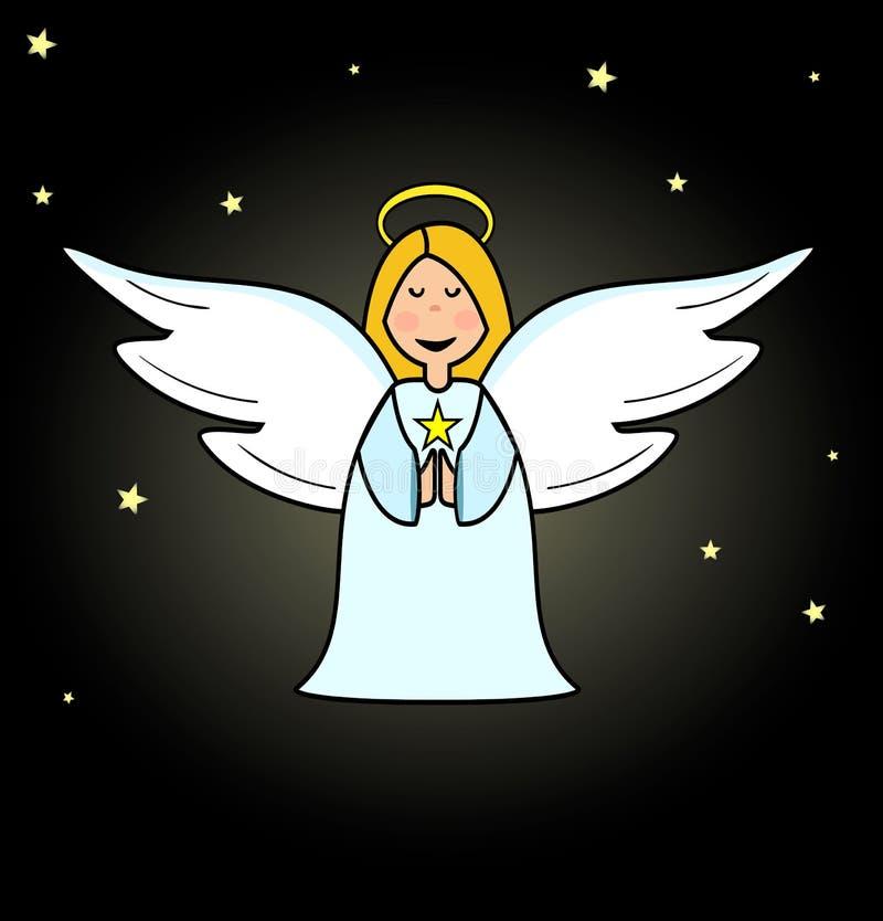 Leuk weinig engelenmeisje, beeldverhaalkunst - Vector, vectorillustratie stock illustratie