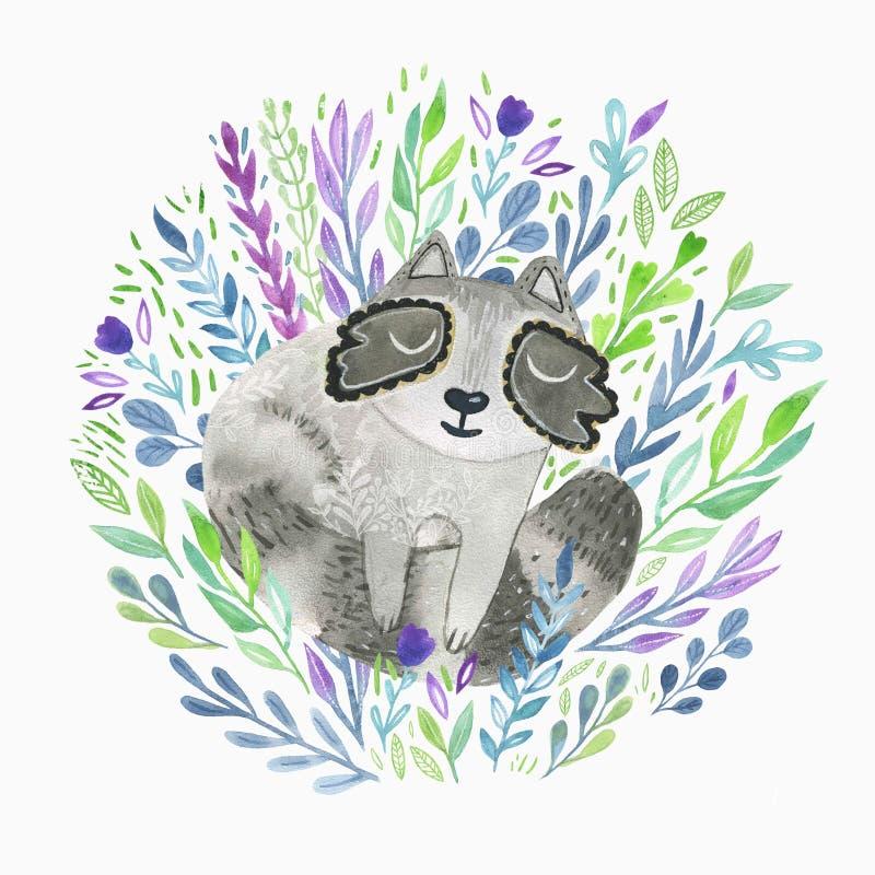 Leuk weinig getrokken de wasbeerhand van de slaapbaby waterverfhand getrokken bloemenillustratie Goed voor kinderdagverblijfdecor vector illustratie