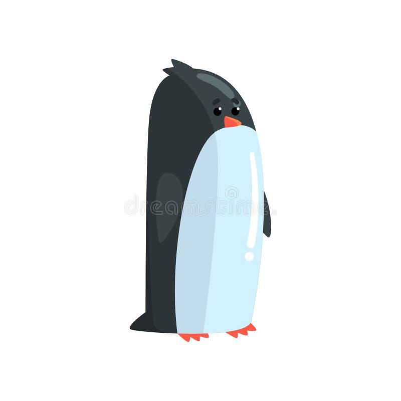 Leuk weinig grappige bevindende het karakter vectorillustratie van het pinguïnkuiken stock illustratie