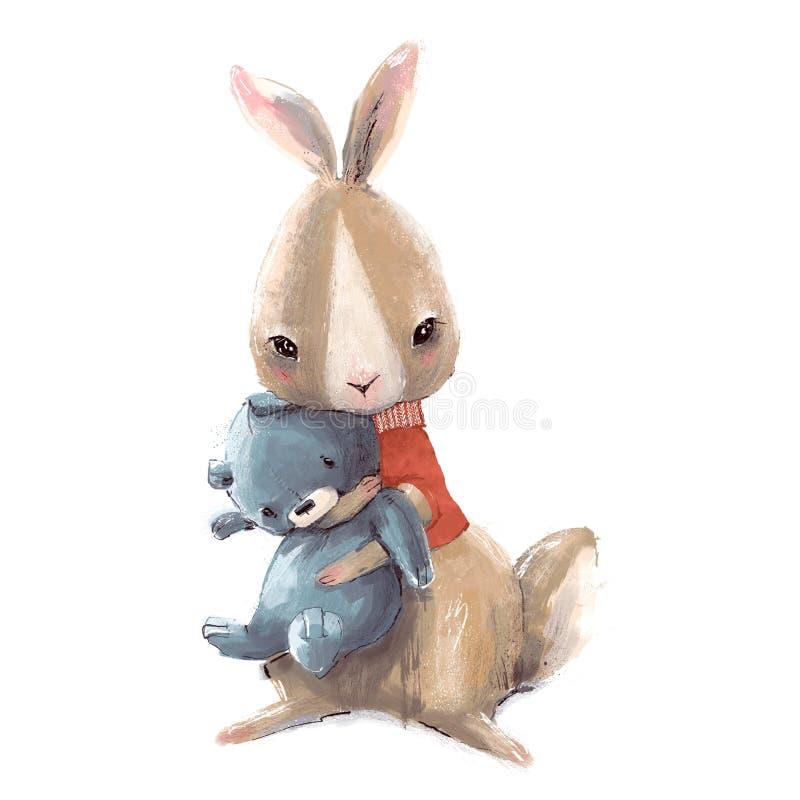 Leuk weinig haas met sweater en Teddybeer royalty-vrije illustratie