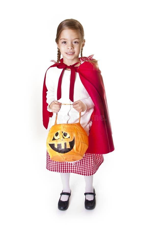 Leuk weinig Halloween truc-of-Treater stock afbeeldingen