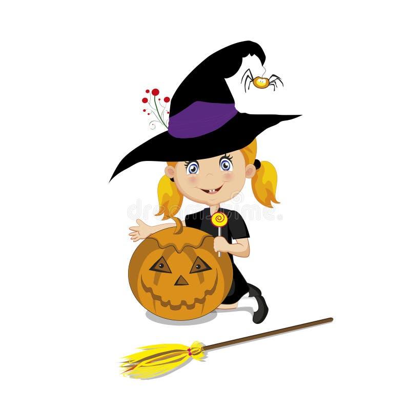 Leuk weinig heks in Halloween-kostuum met pompoenhefboom stock illustratie