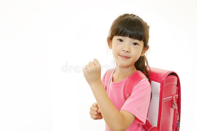 Leuk weinig het Aziatische meisje glimlachen royalty-vrije stock foto