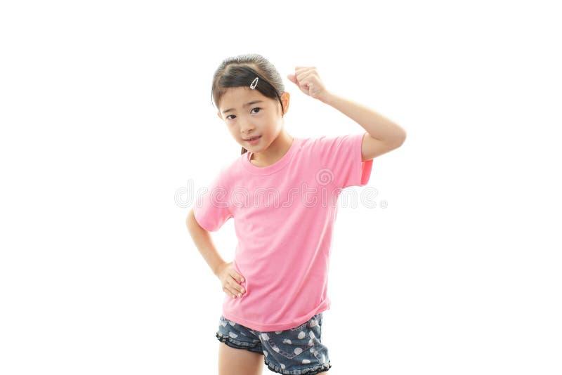 Leuk weinig het Aziatische meisje glimlachen royalty-vrije stock afbeeldingen