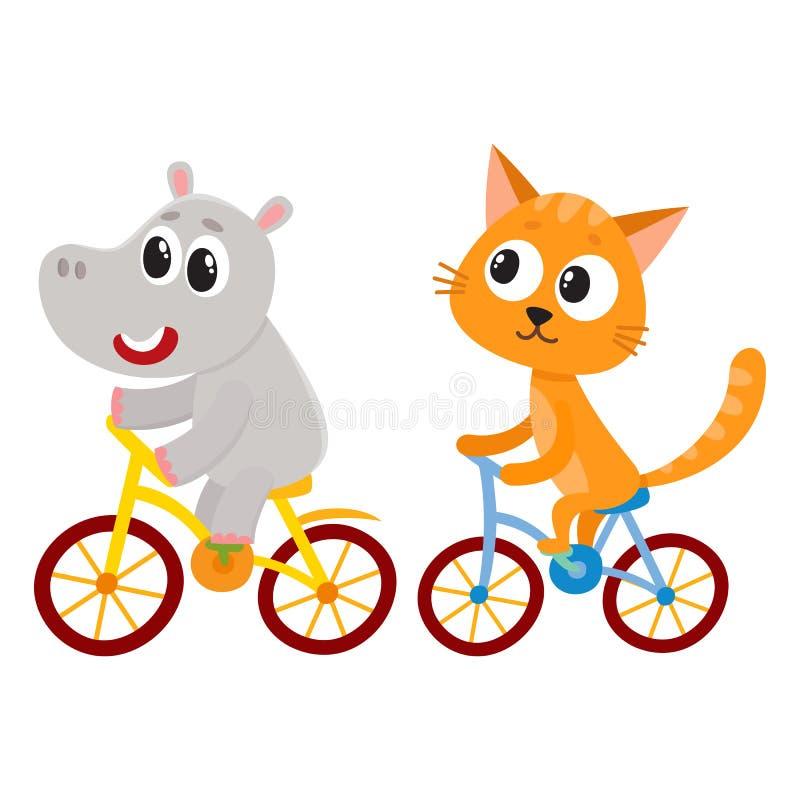 Leuk weinig hippo en kat, katjeskarakters die fietsen samen berijden vector illustratie