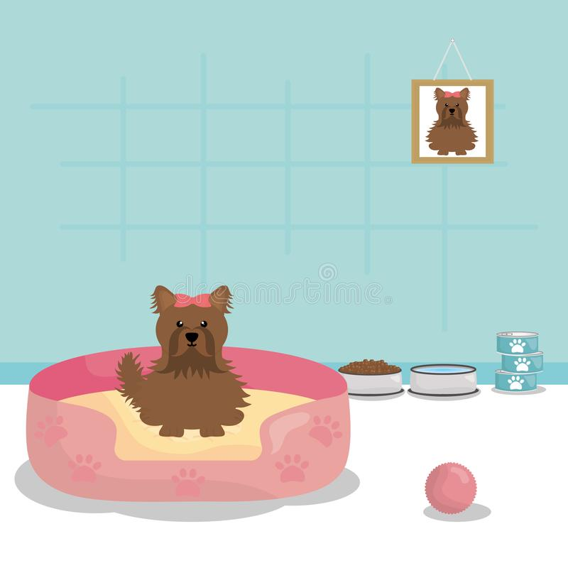 Leuk weinig hond in het bed vector illustratie