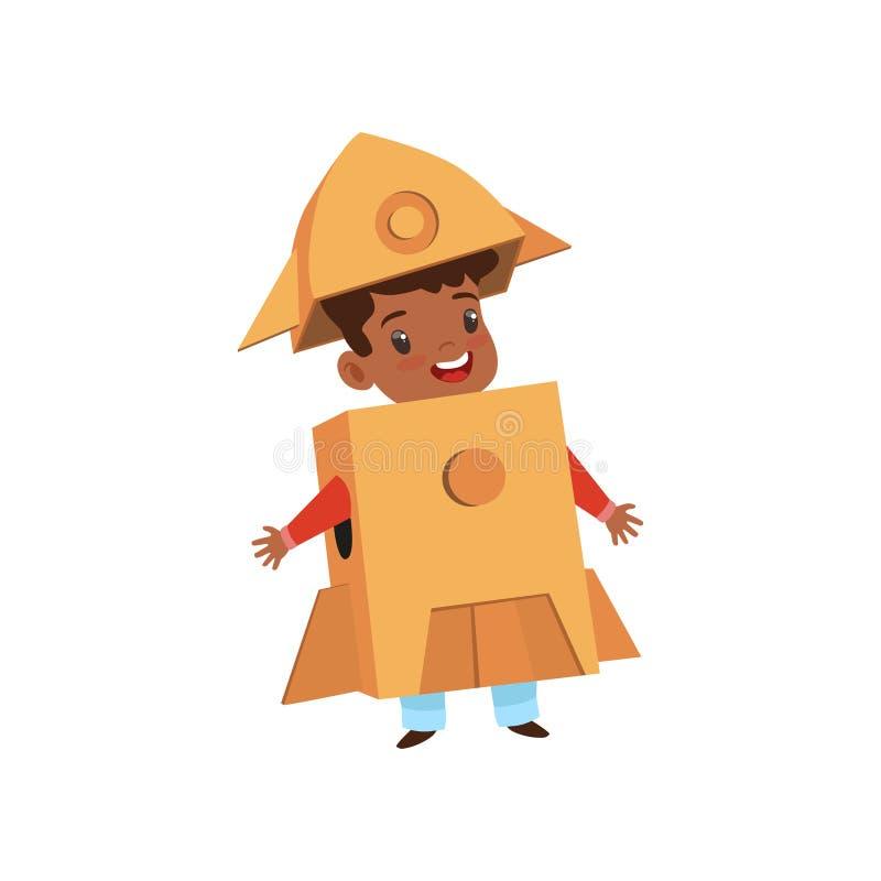 Leuk weinig jongen die als astronaut, mooi die jong geitje in raketkostuum spelen van de vectorillustratie van kartondozen op a w royalty-vrije illustratie