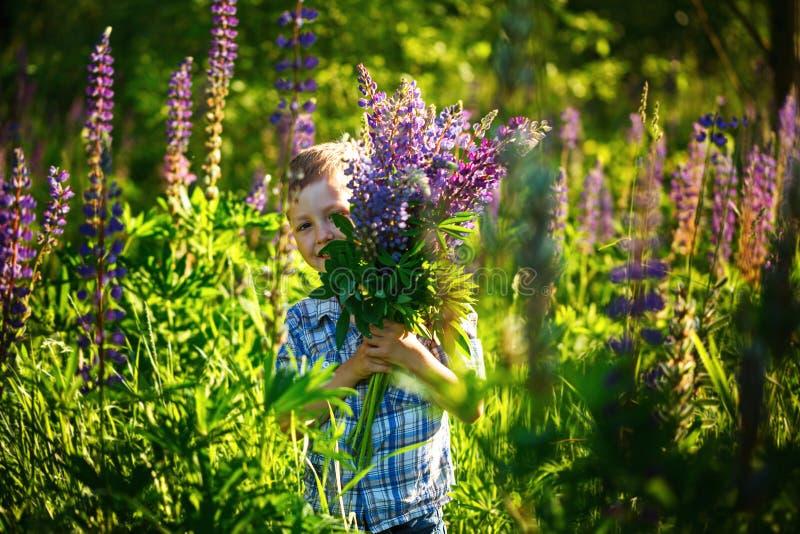 Leuk weinig jongen, die bloemen in zonnige de lentedag houden stock foto's