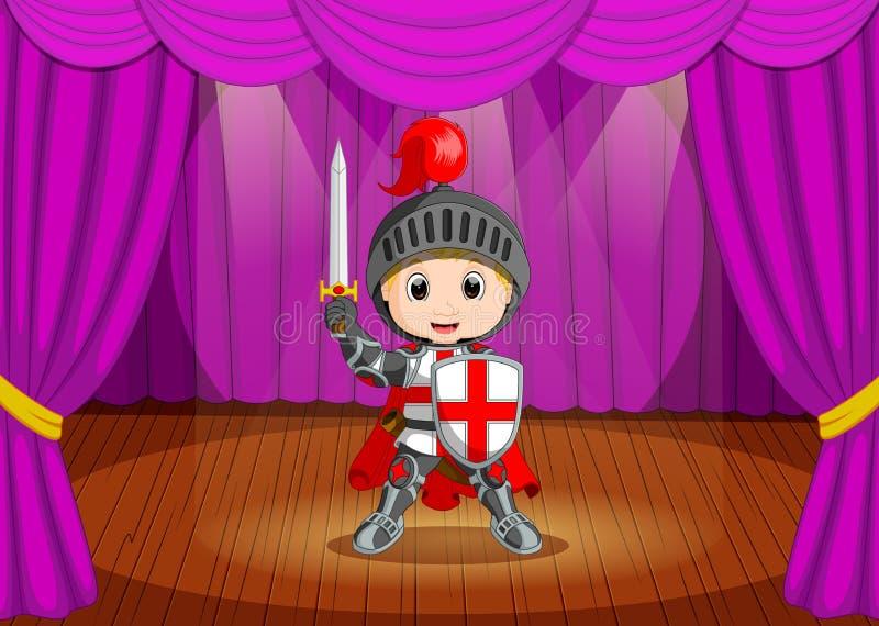 Leuk weinig jongen die ridderkostuum op stadium dragen royalty-vrije illustratie
