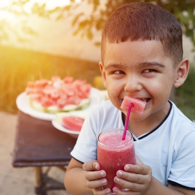 Leuk weinig jongen het drinken sap in de tuin royalty-vrije stock fotografie