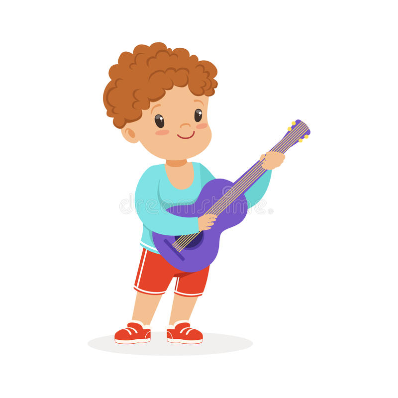 Leuk weinig jongen het spelen gitaar, jonge musicus met stuk speelgoed muzikaal instrument, muzikaal onderwijs voor de vector van royalty-vrije illustratie