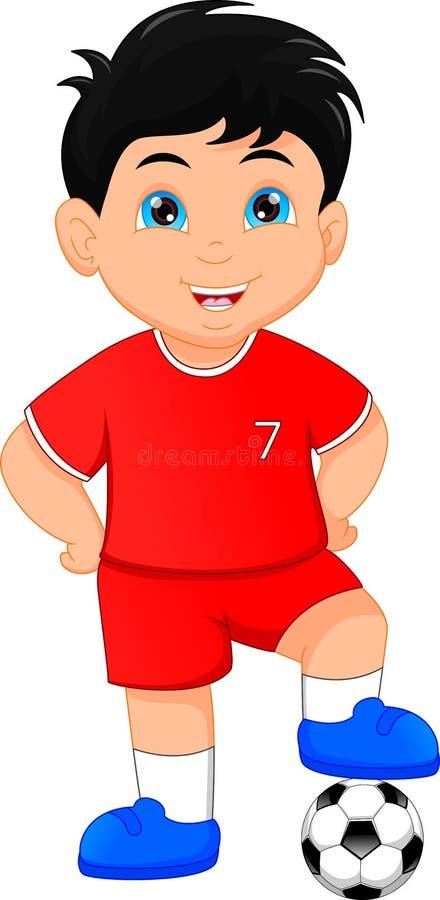 Leuk weinig jongensvoetballer stock illustratie